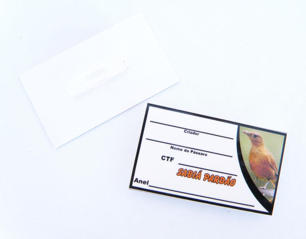 Placa de identificação em PVC laminado - Sabiá Pardão