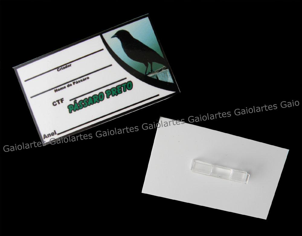 Placa de identificação em PVC laminado - Pássaro Preto