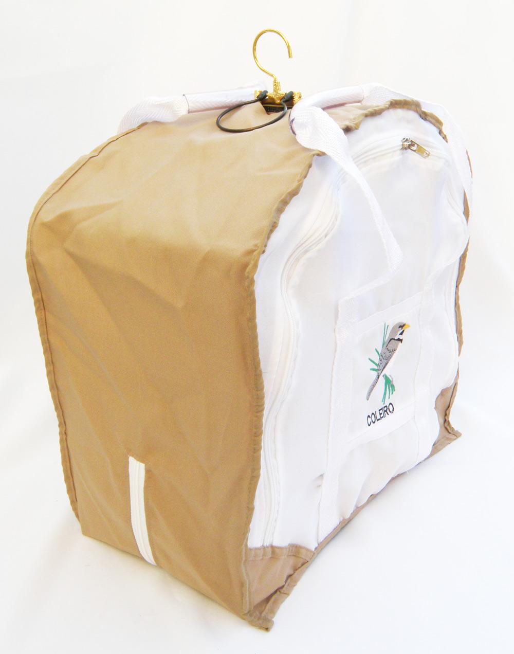 Capa-Sacola Bordada Coleiro - Especial - Branca e Bege