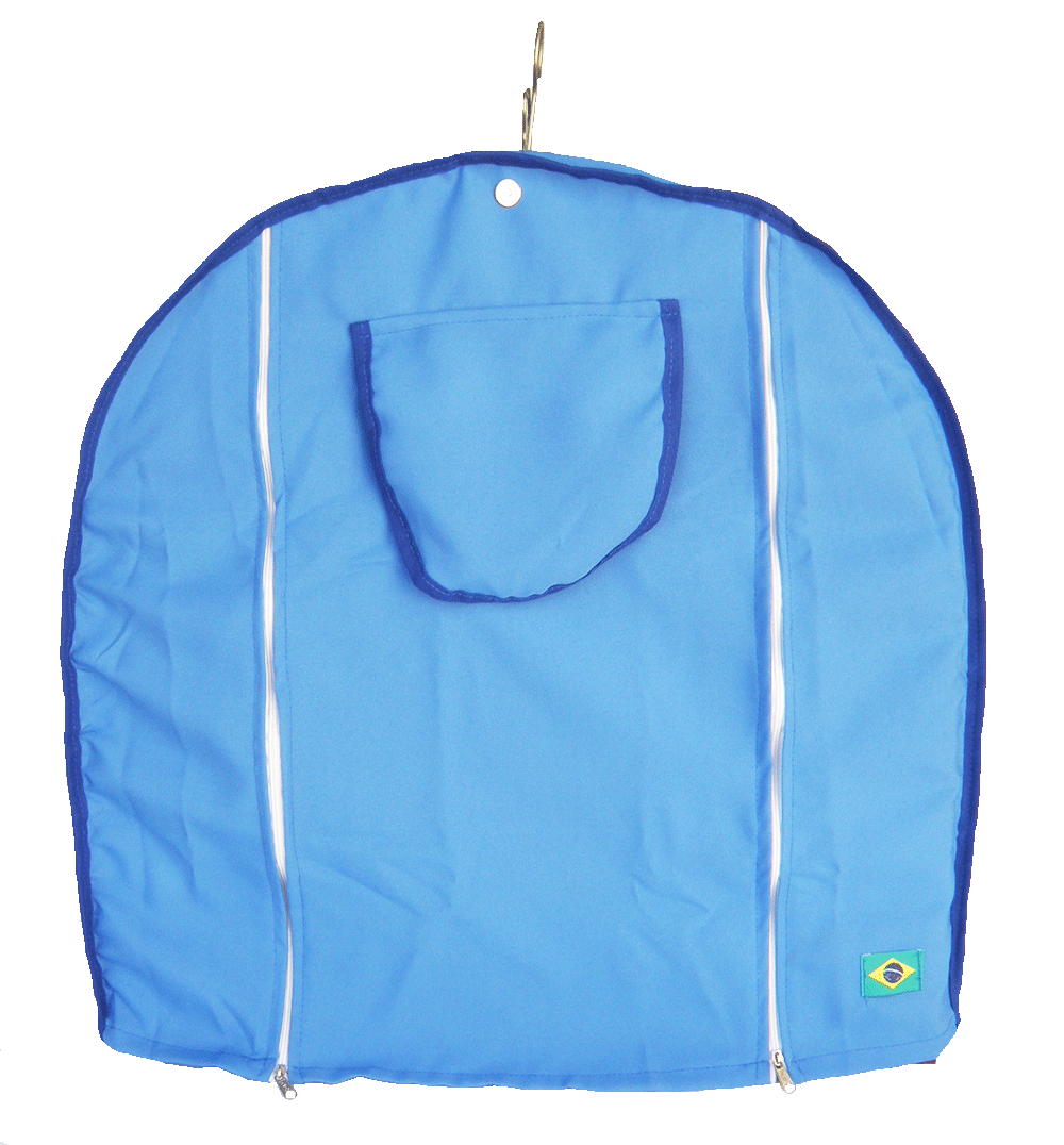 Capa Tecido Gaiola Redonda N°6 Azul Viés Escuro