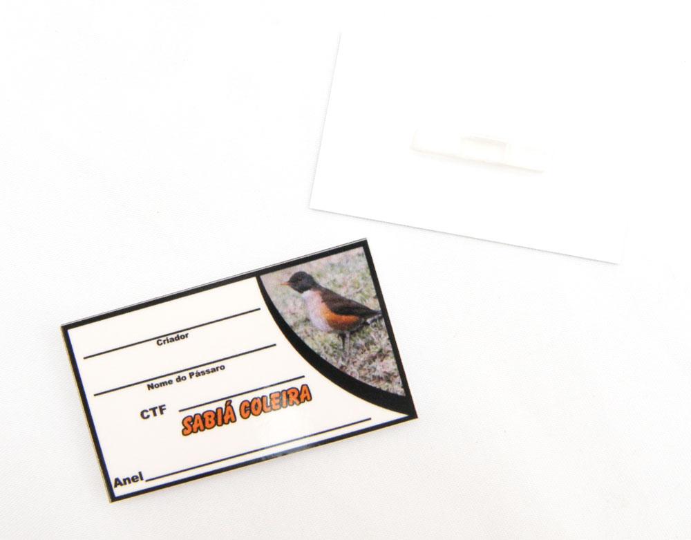 Placa de identificação em PVC laminado - Sabiá Coleira