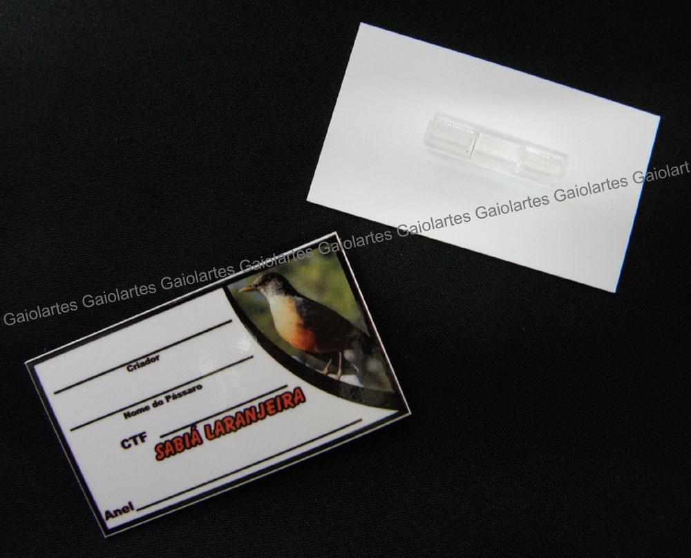 Placa de identificação em PVC laminado - Sabiá Laranjeira