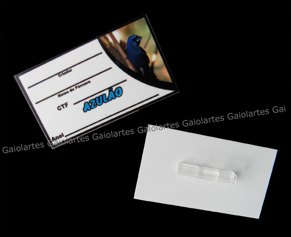 Placa de identificação em PVC laminado - Azulão